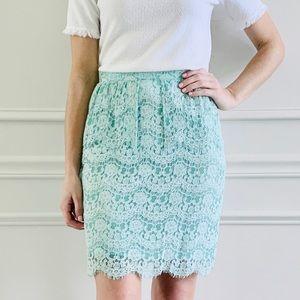 {Aryn K} Mint Lace Peplum Pencil Skirt